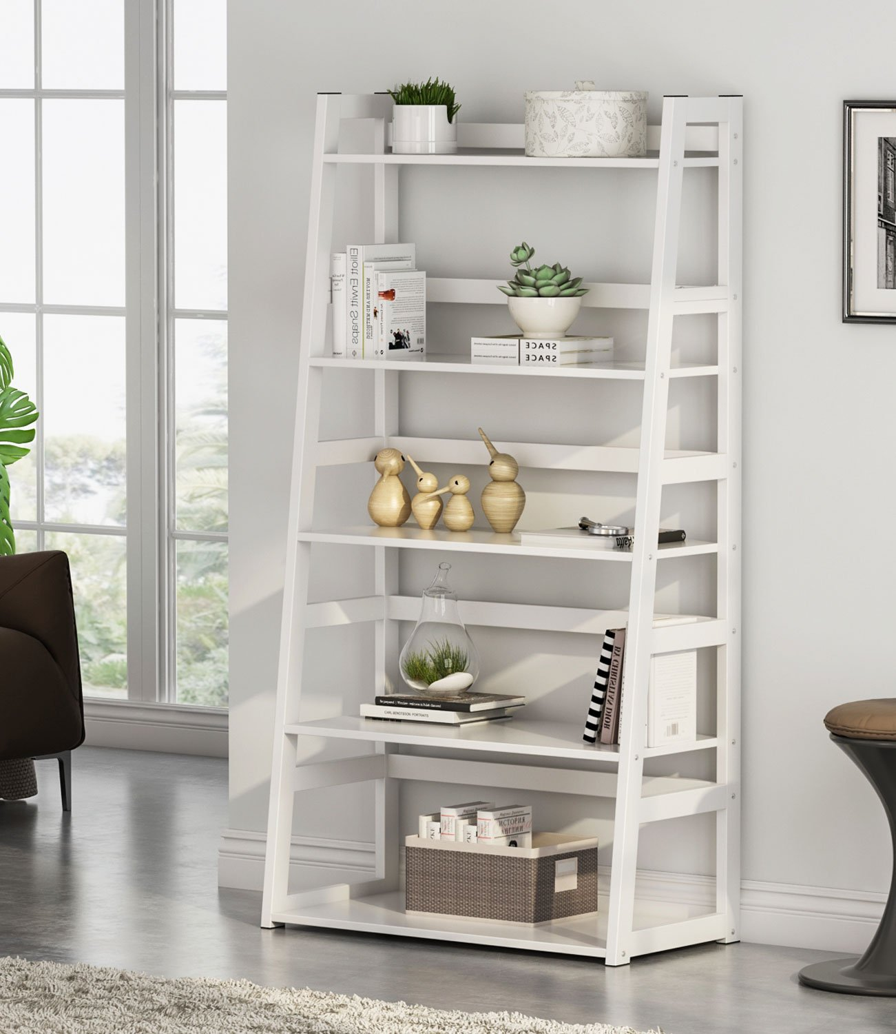 Tribesigns 5-Tier Ladder Shelf, 5 Shelf Modern Bookshelf and Bookcase Freestanding Leaning Shelf for Living Room Home Office (White) by Tribesigns