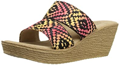 Sbicca Womens pomelo Wedge Sandal RedMulti Size 90