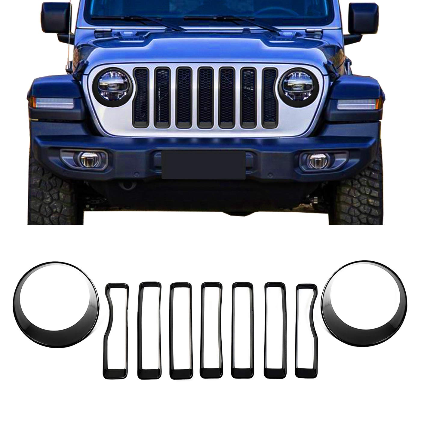 Pack of 9 omotor Black Front Grille Grill Inserts /& Headlight Covers Trim for 2018 2019 Jeep Wrangler JL JLU Sport//Sport S