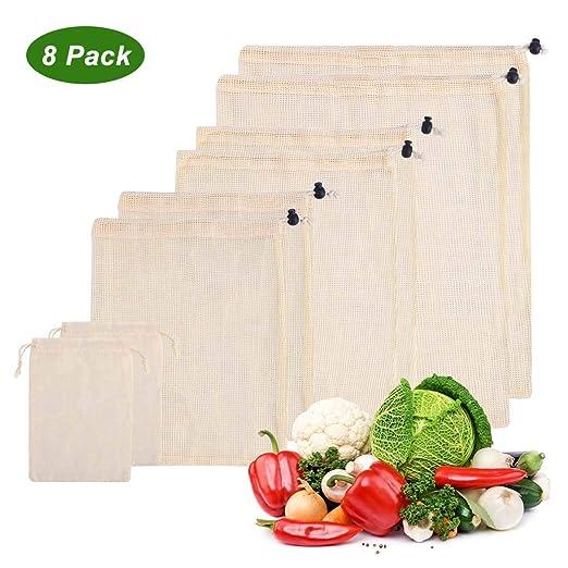AOKKR Bolsas de Malla Reutilizables, 8 unidades, bolsas reutilizables compra, Algodón 100% Ecológico para Verduras y Frutas 4 Tamaños diferentes (Se ...