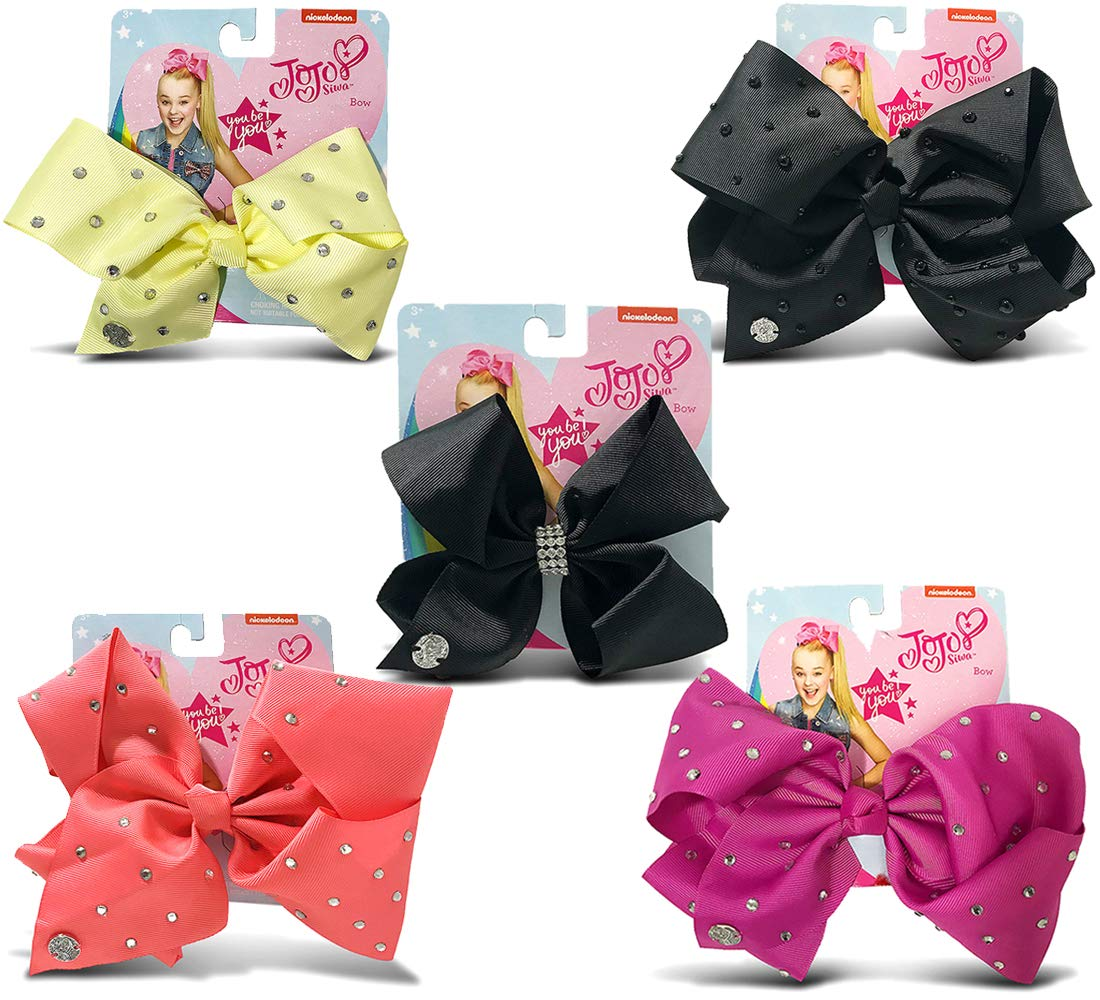 Warp Gadgets Bundle - JoJo Siwa Coral, Berry, Black Center Loop Rhinestone, Black with Pearls and Light Yellow Signature Bows with Rhinestones (5 Items)