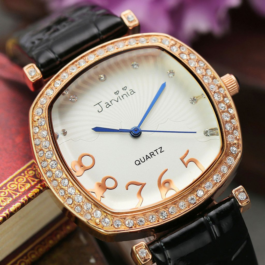 JSDDE Uhren,Elegant Frau Damen Armbanduhr Strass Quadrat Damenuhr Echtleder Armband Rosegold Analog Qaurzuhr,Schwarz