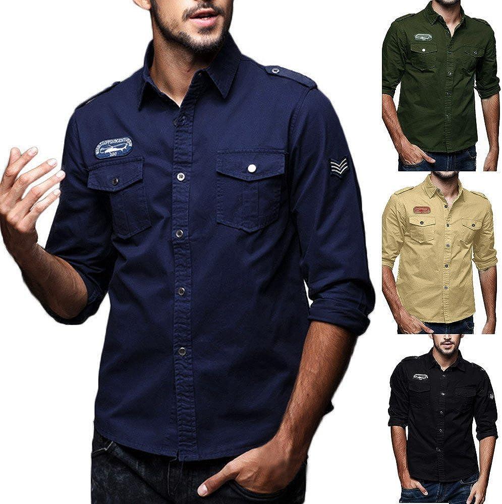 Mens Autumn Casual Military Cargo Slim Button Long Sleeve Dress Shirt Top Blouse