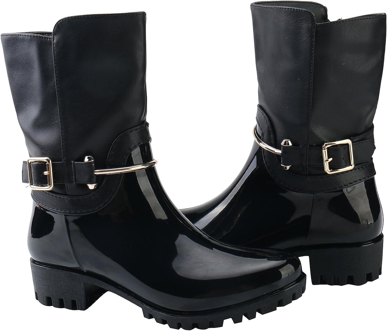 Alexis Leroy Women Checkered Diamond Pattern Studded Adjustable-Strap Warm-Keeping Rain Boots