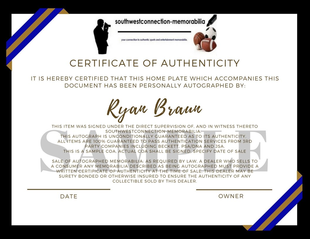 Milwaukee Brewers Ryan Braun Autographed Hand Signed Photo Baseball Home Plate Base with Proof Photo of Signing and COA