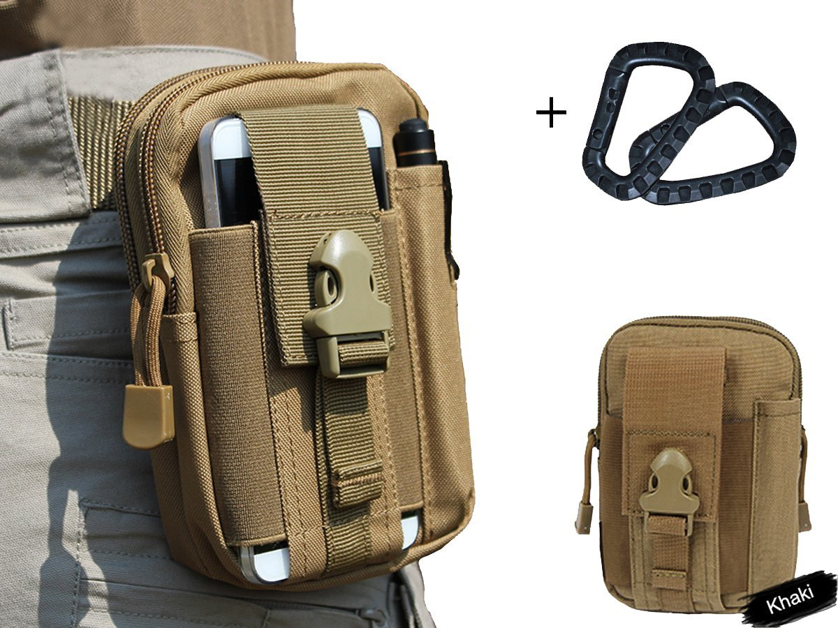 LefRight(TM) Combo 2 Carabiners + Tan 1000D Nylon Tough Duty Tactical Molle Compatible Military Security Pack Rock Climbing Outdoor Gear Holster Utility Hiking Cycling Carrying Big Capacity Tools Belt Waist Bag for iPhone 6 Plus BSP