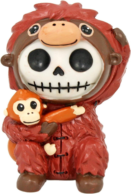 Furrybones Utan Signature Skeleton in Orangutan Costume Hugging Monkey Buddy