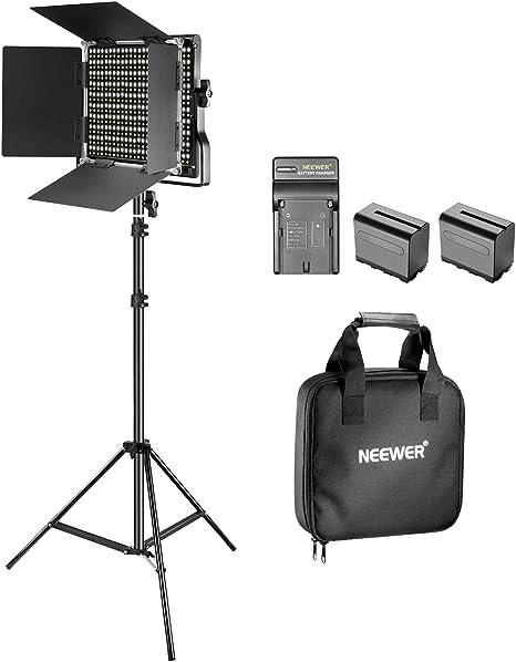 Neewer Kit de 660 LED Video Luz Regulable Bi-Color con Parasol y 200-centímetro Soporte de Luz,2-Pack 6600mAh Battería Li-Ion Recargable y Cargador para Fotografía Estudio Youtube Video(Negro): Amazon.es: Electrónica