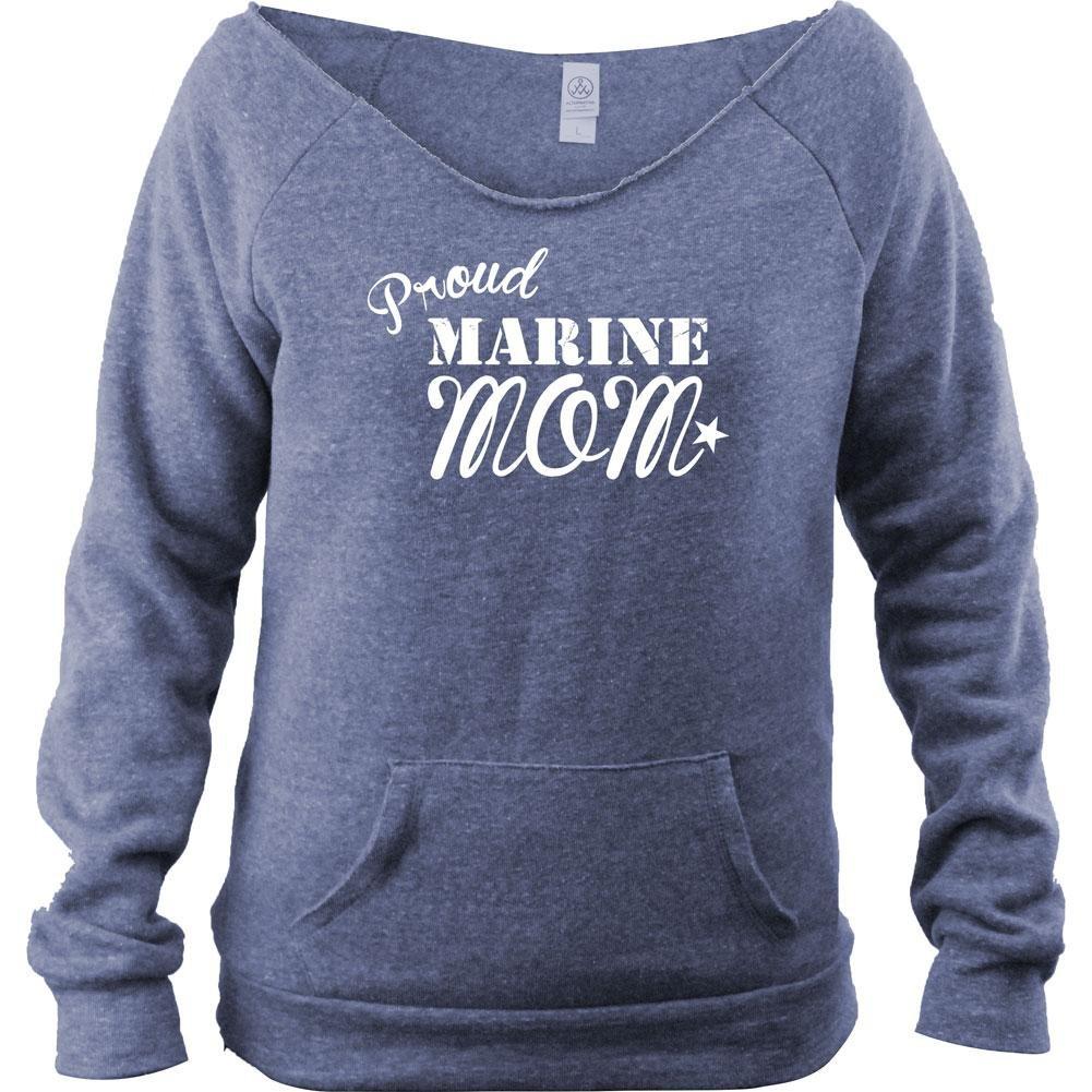 USAMM Ladies Vintage Proud Marine Mom Fleece Boutique Style Open Neck Sweatshirt (M, Navy)