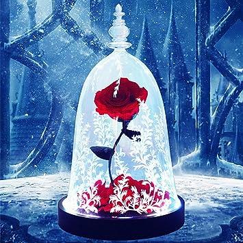 Only Rose Rose Eternelle Dome Verre Base En Bois Massif Lumieres