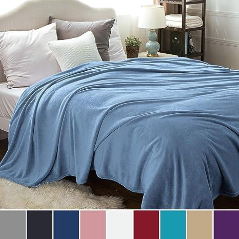 Bedsure Mantas para Sofas de Franela 270x230 cm - Mantas para Cama de 180 Reversible de 100% Microfibre Extra Suave - Manta Invierno Azúl Transpirable