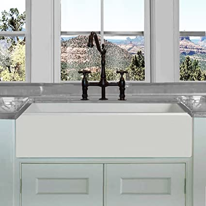 Highpoint Collection Fireclay Farmhouse Apron Sink 36 Inch 36u0026quot;