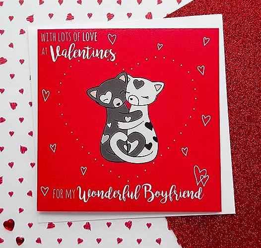 Boyfriend Valentines Card Cute Cats Card Valentine S Day Card