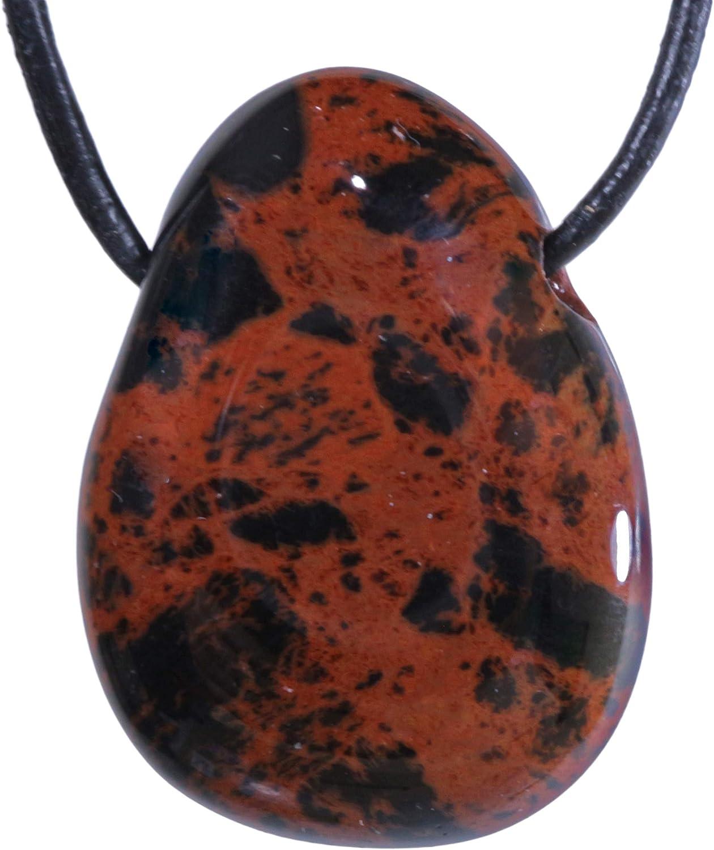 Fuente de Vida Plus Mahagoni obsidiana Gota Colgante Gota Colgante Piedra trompa Perforada con cordón de Cuero