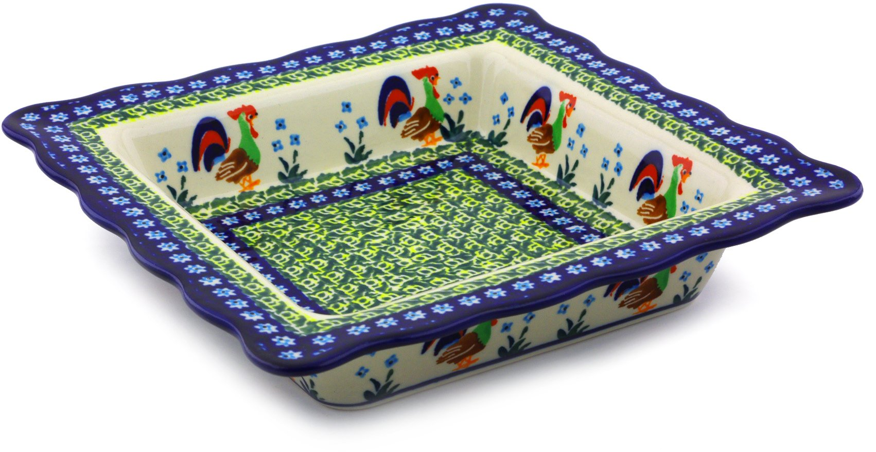 Polish Pottery Square Bowl 9-inch (Country Rooster Theme) Signature UNIKAT