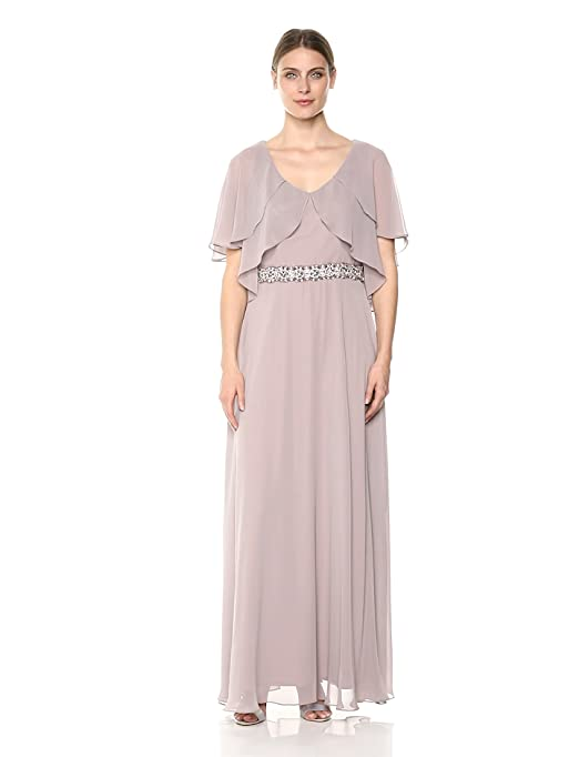 dcf4cc7d08 Alex Evenings Women s Tiered Flutter Sleeve Dress with Beaded Waist at  Amazon Women s Clothing store