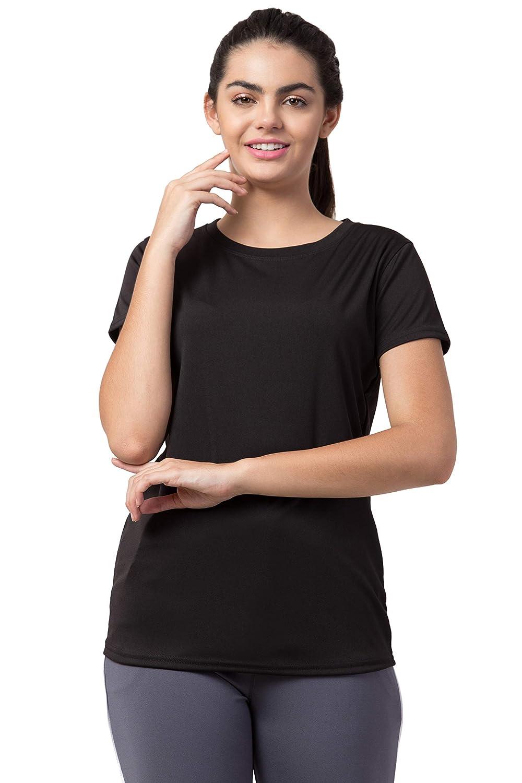 Buy Bluecon Polyester Women's Half Sleeve Long Tees, Plain Tshirts Women, Women  Active wear Tshirt (Black) at Amazon.in