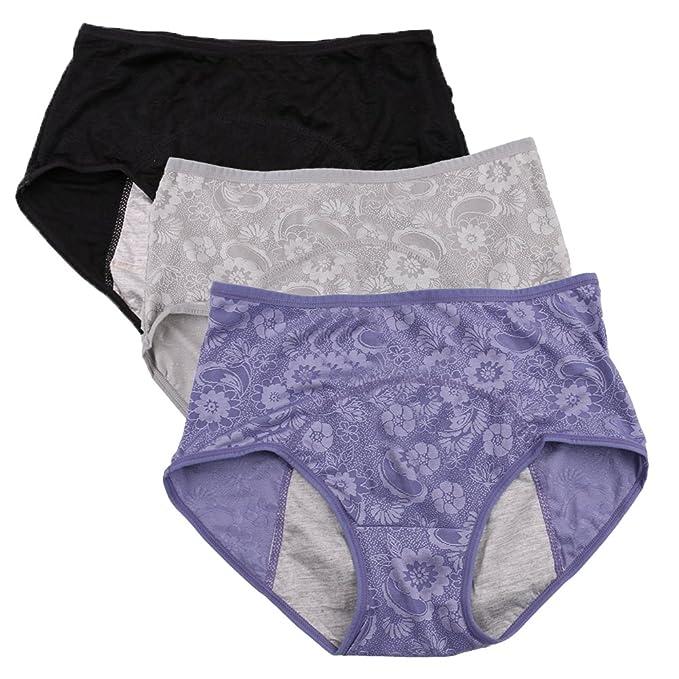 Las mujeres período menstrual Briefs Jacquard fácil Limpiar Panties 3-Pack Tamaño 36-44