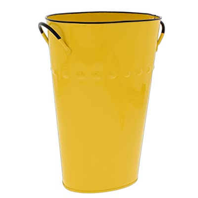 Yellow Oval Enamel Bucket Planter with Hobnail Design : Garden & Outdoor