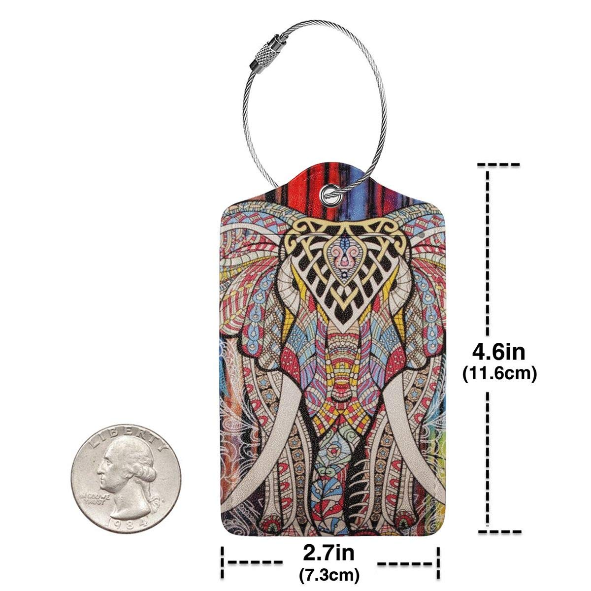Bohemian Elephant Luggage Tag Label Travel Bag Label With Privacy Cover Luggage Tag Leather Personalized Suitcase Tag Travel Accessories