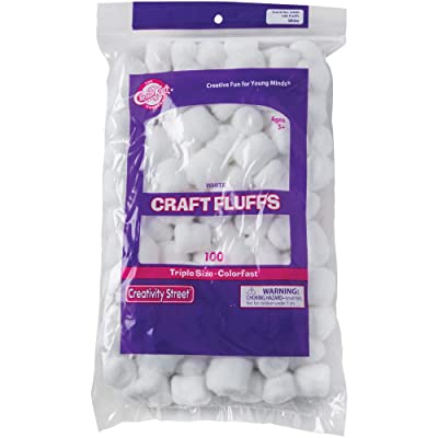 Creativity Street Cotton-Like Polyester Decorated Craft Fluff Ball, White, Pack of 100: Office Products