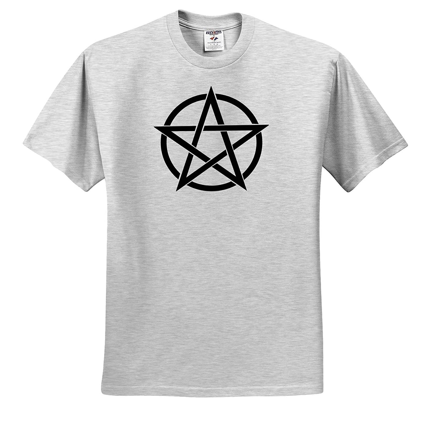 T-Shirts Black Pentagram on White Background 3dRose Cassie Peters Wicca