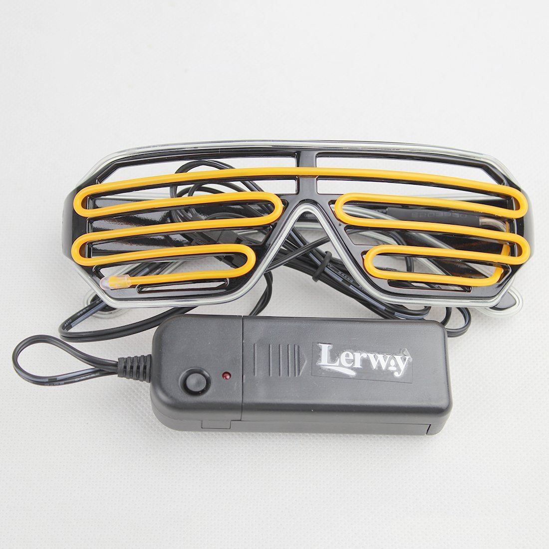 LERWAY Black Frame Neon El Wire LED Lighting Up Slotted Shutter Glasses Eyeglasses Eyewear for Music Concert Live white+red Standard Control Box Stage Performance Show,Crazy Wild Party Bonfire