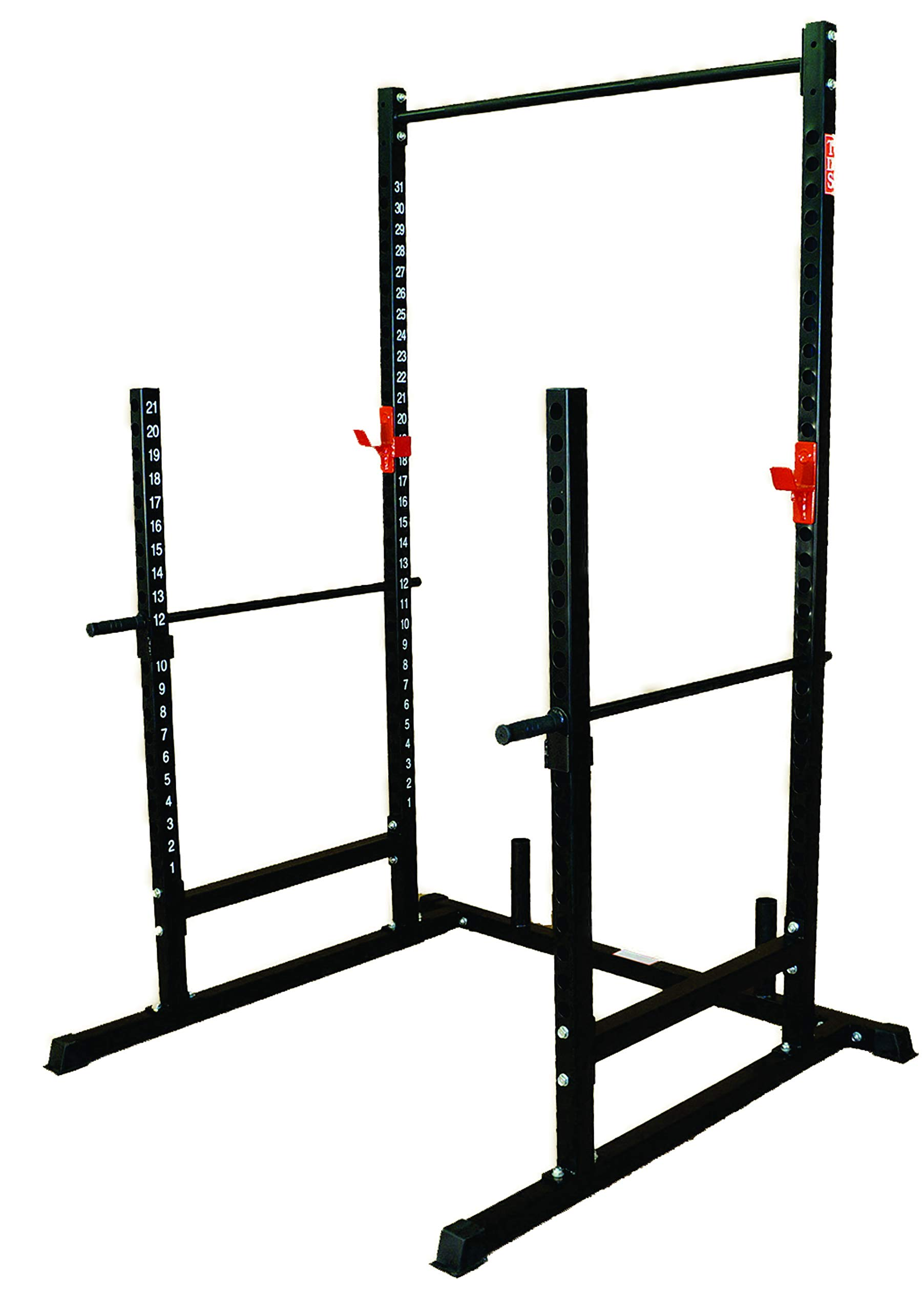 """TDS Power, Squat & Open Rack Station, with Solid Steel Safety Bars, 1.25"""" Dia Professionally Knurled Pull Up Bar"""