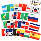 VAMEI Stick Flags Hand Held Mini Flag On Stick Round Top 32 Countries for Party Decorations Supplies 2018 World Cup
