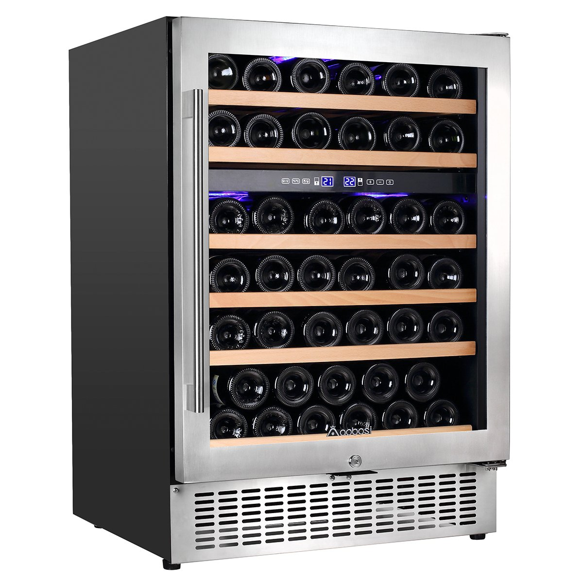 Aobosi Wine Cooler Refrigerator with 51 Bottles Dual Zones,Classy Look, Stainless Steel & Reversible Glass Door,and LED Display | Thermostatic Wine Refrigerator for Red and White Wine, Champagne,Beve