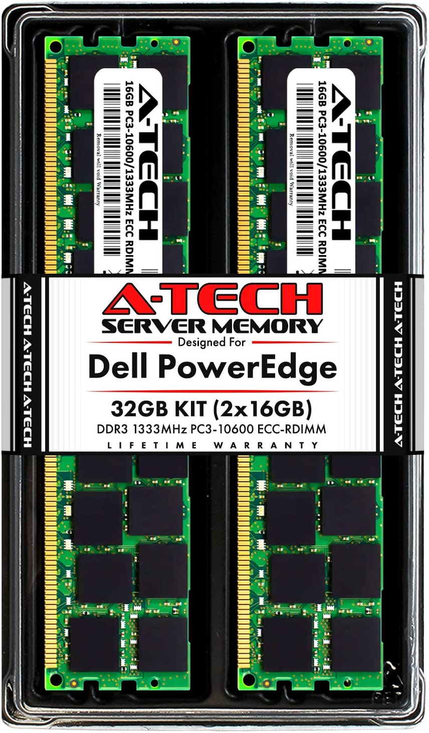 A-Tech 32GB (2x16GB) RAM for Dell PowerEdge R410, R415, R510, R515, R610, R710, R715, R810, R815, R910 | DDR3 1333MHz ECC-RDIMM PC3-10600 2Rx4 1.5V ECC Registered DIMM Server Memory Upgrade Kit