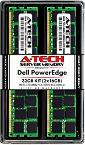 A-Tech 32GB (2x16GB) RAM for Dell PowerEdge T410, T610, T710 Tower Servers | DDR3 1333MHz ECC-RDIMM PC3-10600 2Rx4 1.5V 240-Pin ECC Registered DIMM Server Memory Upgrade Kit