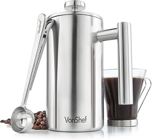 VonShef Cafetera Prensa Francesa de Acero Inoxidable de 6 tazas ...