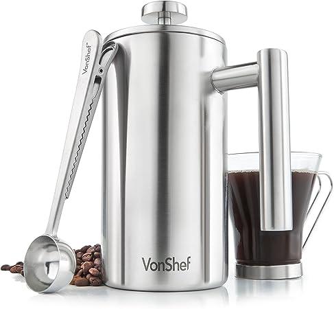 Vonshef - Cafetera con filtro de acero inoxidable de pulido ...