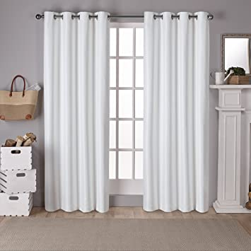 Exclusive Home Curtains Raw Silk Thermal Room Darkening Grommet Top Window  Curtain Panel Pair, Off