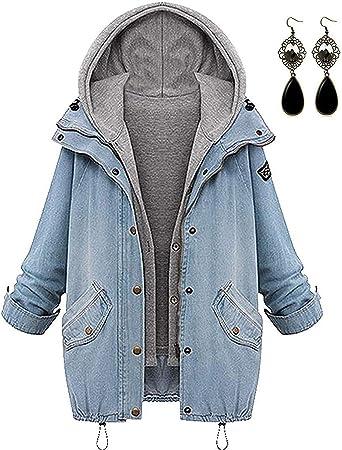 sitengle Femmes Retro Jean Manteau Automne Hiver 2 en 1 Mode Loisir Encapuchonné Parka Outwear