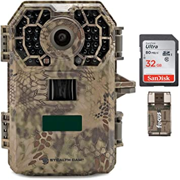 3 Items Stealth Cam 2020 G42NG 24MP Trail Camera and Memory Card Bundle IR Range 100-Ft No-Glow Flash Kryptek Camo