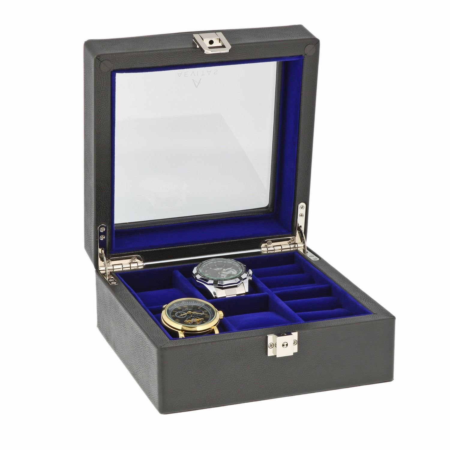 Black Genuine Leather 4 Watch + 6 Pair Cufflink Collectors Box Purple Velvet Lining by Aevitas