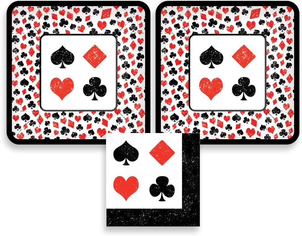 Card Party, Poker Party or Casino Night Paper Dessert Plates and Paper Napkins, 16 Servings, Bundle- 3 Items