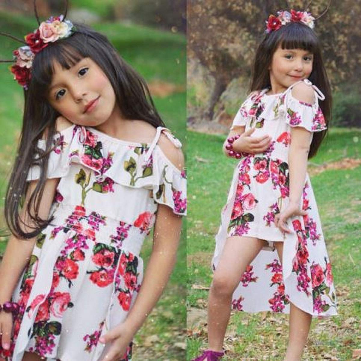 Yellow Preciashopping Floral Toddler Kids Baby Girl Clothes Romper Bodysuit Jumpsuit Outfits Dresses 2-3 Years