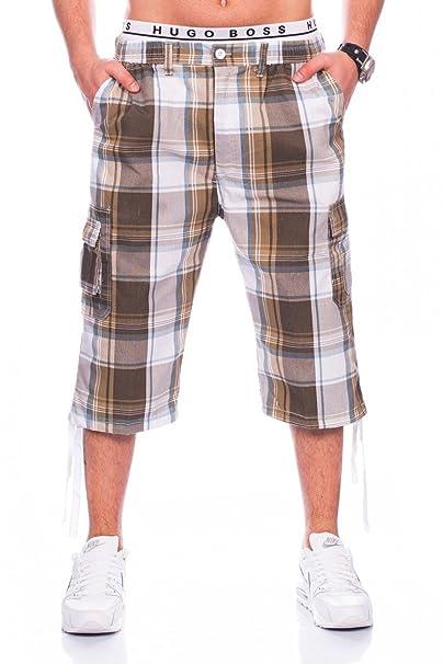 Herren Cargo Shorts Kariert Bermuda Basic Sommer Hose