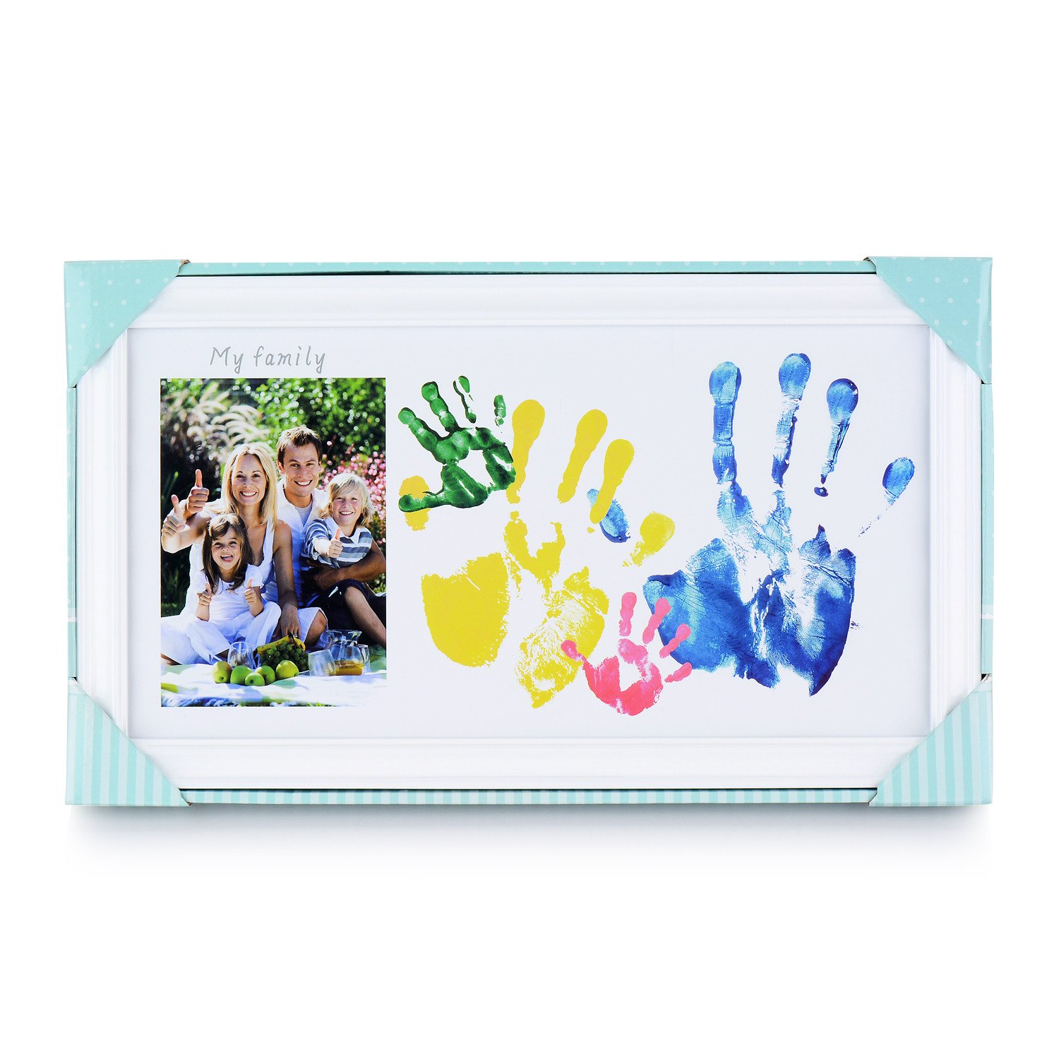DIY Family Photo+ Family/Baby Handprints/Footprints Kit with 10 X 17'' Elegant White Wood Picture Frame, Non-Toxic Watercolor Paints, Baby Clean-Touch Ink Pad, Baby Registry Shower Keepsakes Gifts by NWK (Image #7)