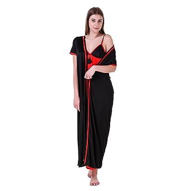 MILIT Women s Satin Contrast Nightwear Nighty with Robe (mi2201 ... 59910e84e