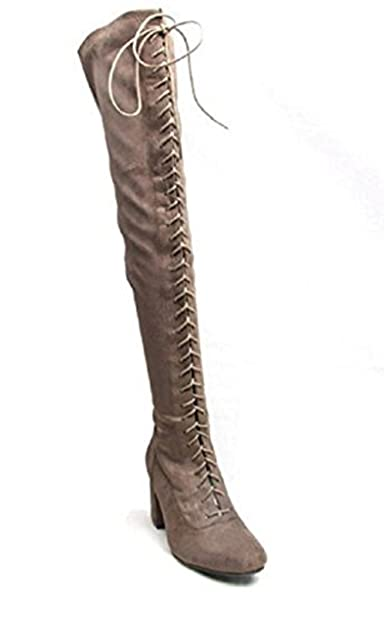 1635a73589f FLIRTY WARDROBE Womens Ladies Front Lace Up Suede Over The Knee Boots Thigh  Shoes Block Low