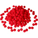 Sumind 250 Pieces Mini Pompoms Small Fluffy Pom Poms for Decor Arts Crafts DIY, Red (12 mm)