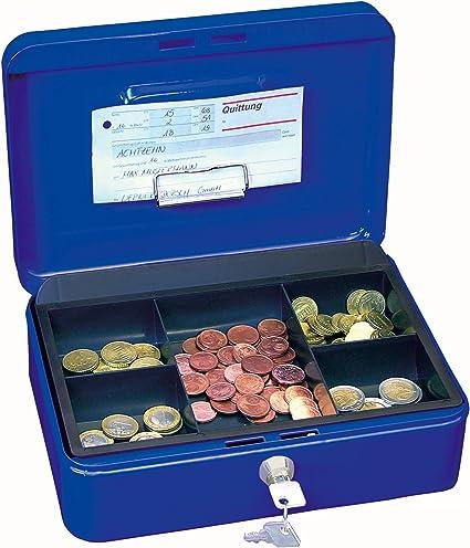 Wedo 145303H - Caja metálica para dinero (2 llaves, soporte para monedas desprendible, acero soldado, 25 x 18 x 9 cm), color azul: Amazon.es: Oficina y papelería