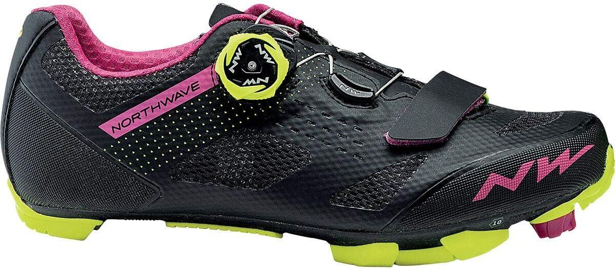 Womens Black//Fuchsia//Yellow Fluorescent Northwave Razer Mountain Bike Shoe 41