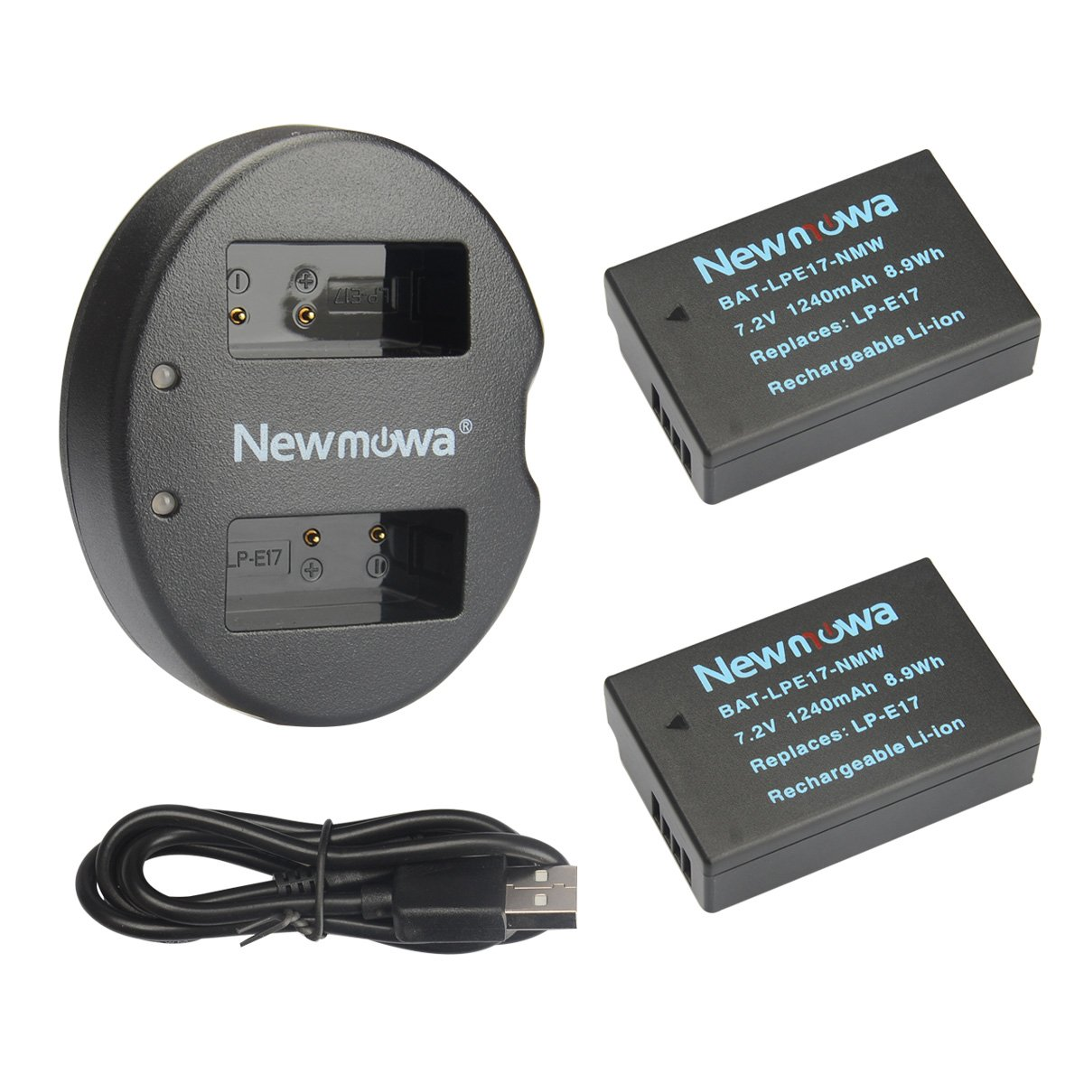 Newmowa LP-E17 Battery (2 pack) and Dual USB Charger Kit for Canon EOS M3 750D 760D Rebel T6i T6s 8000D Kiss X8i Digital Cameras