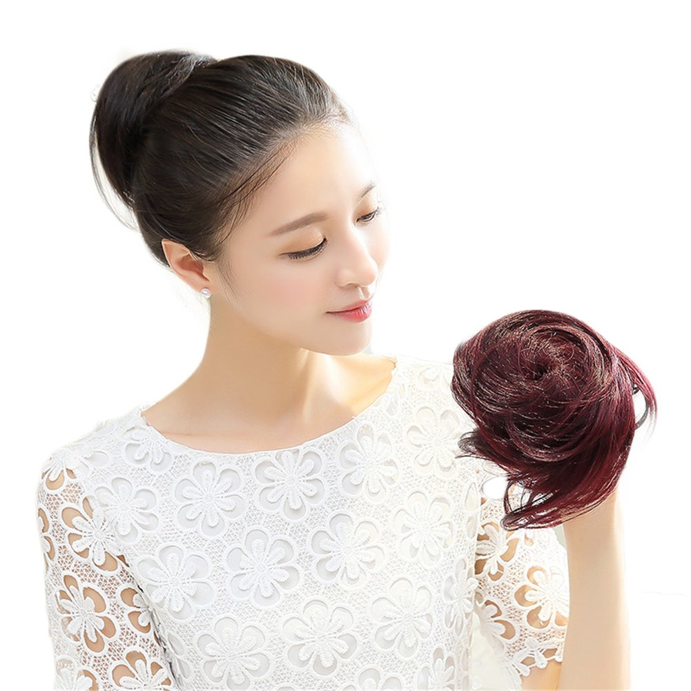 Natural Real Human Hair Bun Chignon Drawstring Clip in Donut Updo Hairpieces (Dark Brown) Yair Yangtze