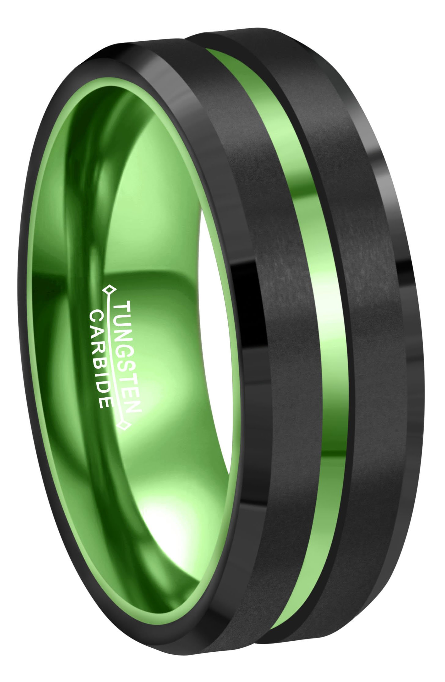 Crownal 8mm Green Black Tungsten Wedding Bands Rings Men Women Green Groove Matte Finish Size 6 To 16 (8mm,10)